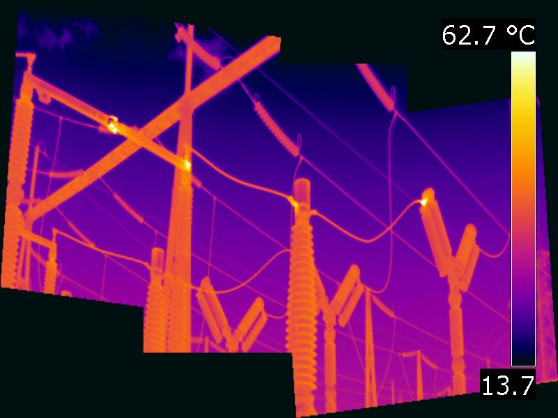 Hot spots at a high voltage substation. Panorama image.